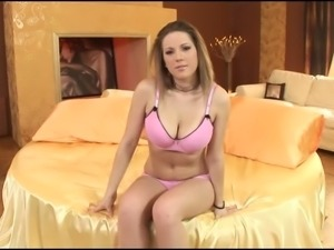 Tempting erotic solo of rich breasted princess in pink lingerie
