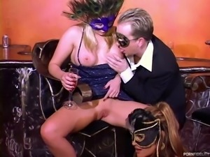 Amazing doll enjoying hardcore pounding by a vibrant dude in an FFM shoot