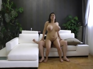 Huge Asian boobs bounce around as the curvy girl gets fucked