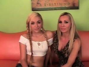 Blonde mom and daughter sharing giant dick