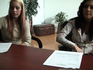 Blonde and brunette hotties displaying their oral talents in casting