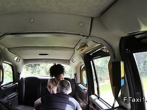 Natural busty ebony fucks in fake taxi pov