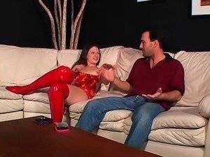 Kinky milf in sexy red lingerie has a hairy slit longing for pleasure