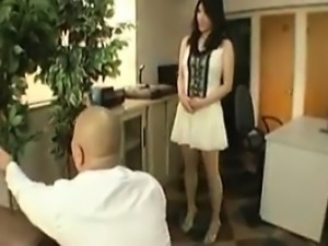 Young Asian hottie makes nice with an old guy and fingers h