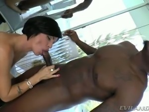 Mega busty brunette mom pleases black guy with steamy deep throat