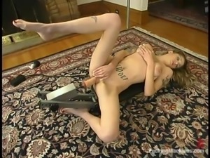 Michelle Monroe gets her pierced vag smashed by a fucking machine