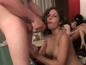 Interracial group sex scene with many beautiful girls