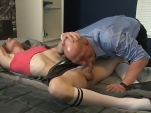 Salacious shemale with small tits enjoying a hardcore fuck
