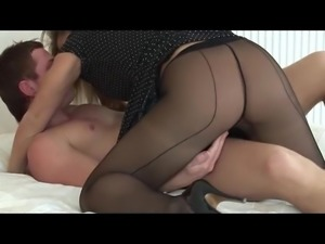 Sexy blonde in black pantyhose sucks and fucks partner
