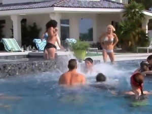 Group of horny couples swinging inside Playboy mansion
