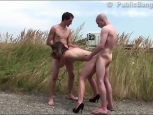Shocking PUBLIC sex threesome by nude cute girl and 2 guys