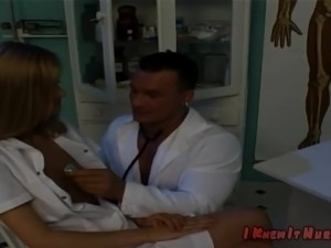 Freaky doctor examines the nurse