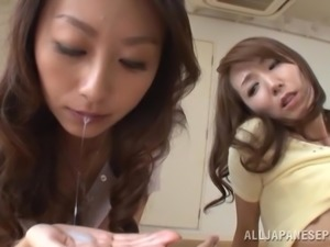 Blazing Asian teens giving erotic blowjob in epic ffm threesome