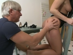 Stunning babe Rosalina Love  gets her anus banged by an older man