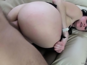 Wild brunette in black stockings has a fiery ass needing to be filled