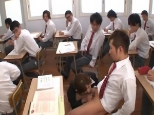 Delicious and nasty Japanese teacher is being gang banged by her students