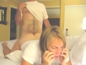 blonde wife fucked doggy  style sucking cock