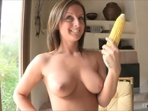 Melissa masturbates with a corn cob in solo scene