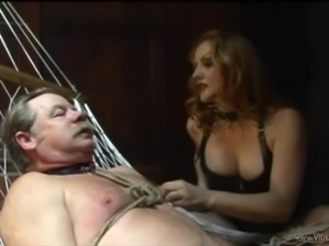 Cute Mistress Gemini tortures and teases cock of old man in bondage