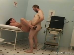 Busty Russian slut fucks horny old doctor in his office
