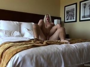 Sultry blonde has a hung guy plowing her ass and cumming on her face