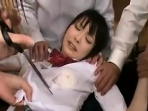Adorable Japanese schoolgirl with sexy legs gets treated li