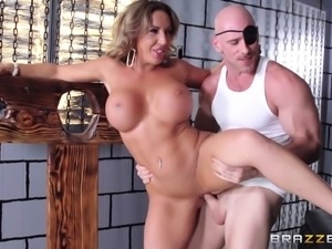 One eyed man brings a milf to his dungeon for hot sex
