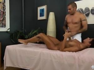Attractive brunette enjoys a relaxing massage and an intense fucking