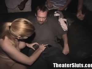 Stacked blonde chick with a sublime ass gets gangbanged in a theater