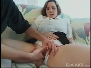 Cutest babe having a lot of fun with two cocks at the same time