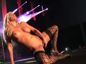 german busty milf on public stage
