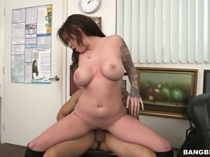 Sizzling mom with juicy jugs is banged hard doggy style in the office