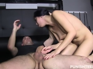 Big breasted nympho chokes on a throbbing rod and takes it up her ass