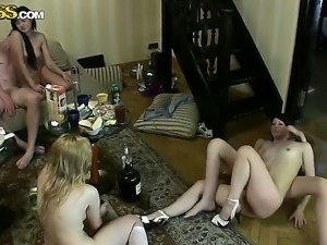 Three girlfriends Dasi West, Varvara and Zena got drunk at girlfriends party...