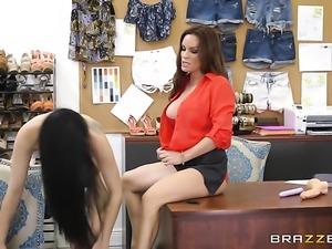 Brunette Diamond Foxxx with gigantic hooters satisfies her sexual desires...