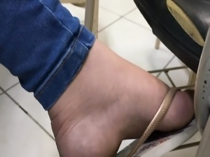 College girl feet dirty soles in flip flops and flats