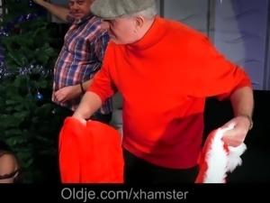 Christmas gangbang 8 old dicks fuck teen busty Julie Skyhigh