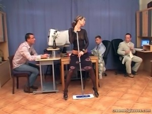 Not pretty blond maid Sara forgets about cleaning and sucks three dicks