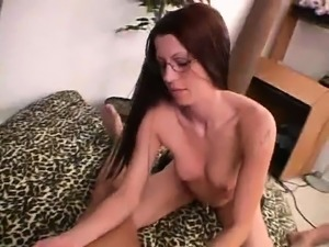 Sexy slender babe with glasses Capri delivers an impressive handjob