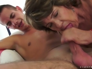 Dirty minded granny fucks young stud in hardcore porn clip