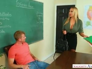 Lustful cougar Olivia Austin seduces handsome young stud for sex