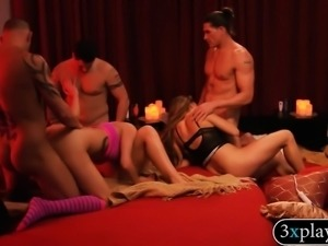 Couples swap partners and massive group sex in red room