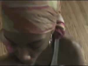 Black cute girl sucking hard dick balls deep in amateur video