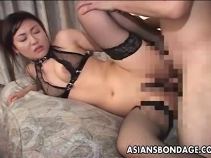 Gag ball loving Asian slut getting bdsm treated