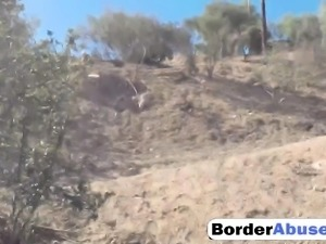 Brunette Latina Caught On Border Fucking Outdoor