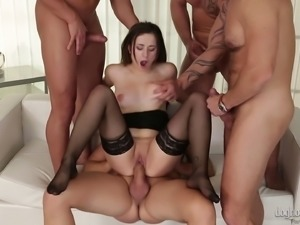 Bunch of men seduce a lovely business woman for a great group sex