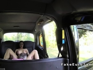 Busty amateur babe gets ass to mouth in fake taxi