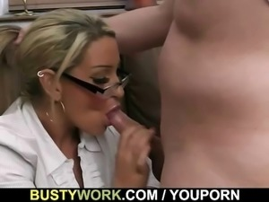 Busty hottie enjoys riding his meat