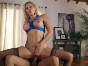 Yummy inked blondie Savana Styles swallows giant dick and then bounces on it...