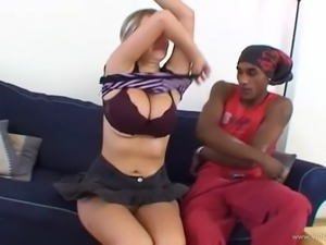 Wendy Wonders gets cum on her huge natural tits after interracial sex